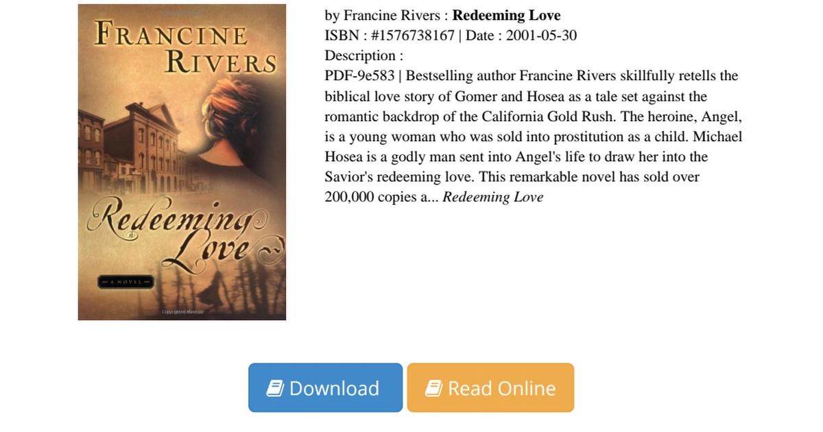 Redeeming Love Francine Rivers Pdf A812f6565 Pdf Google Drive