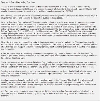 essay on teachers day celebration in school in english