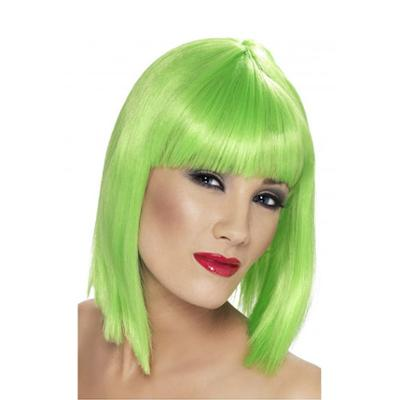 Discount Party Supplies Womens Green Neon Blunt Glam Wig