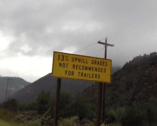 Bicycle climb up Hwy 143 - 13% grade road sign