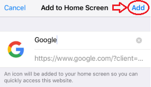 Final step to adding Google to home screen with the Safari browser