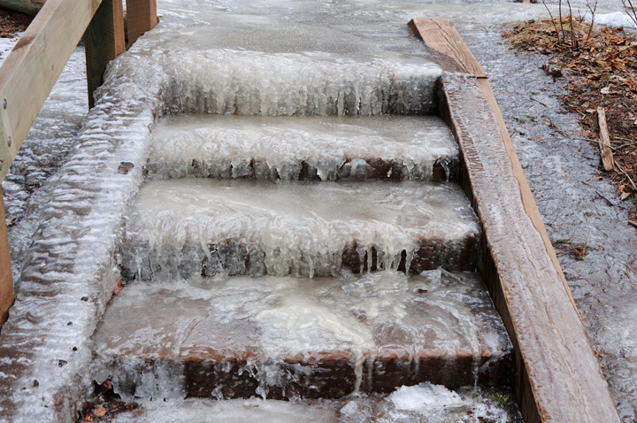 Icy conditions from drainage issues