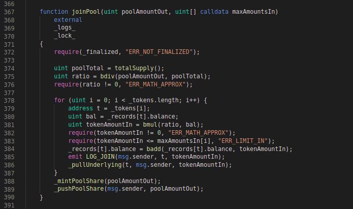 Balancer Codeblock: joinPool function
