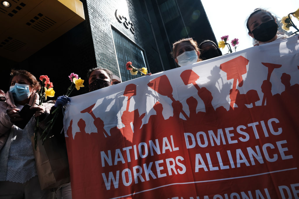 Left wing demonstrators hunger strike for undocumented worker subsidies on April 4, 2021 in New York City. New York State has earmarked $2.1 billion to payout $15,600 or $3,200, depending on eligibility, to the State's illegal immigrant workers, a sum ten times greater than federal stimulus checks.