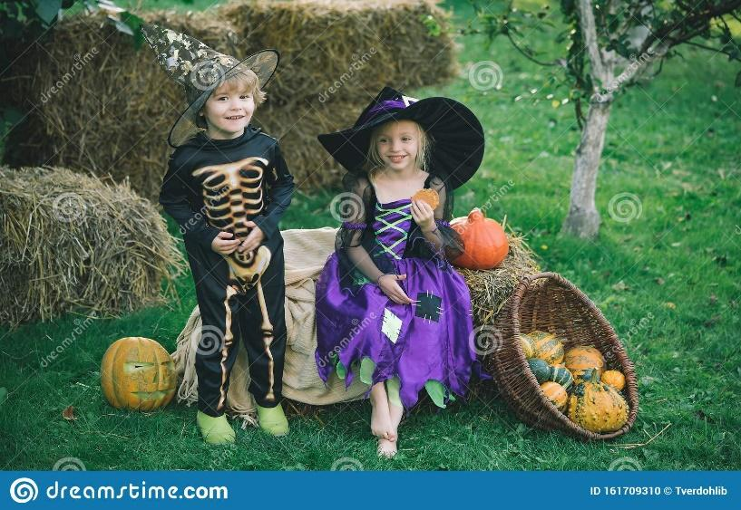 Happy Halloween. The Concept Of Child Friendship, Peace, Kindness ...