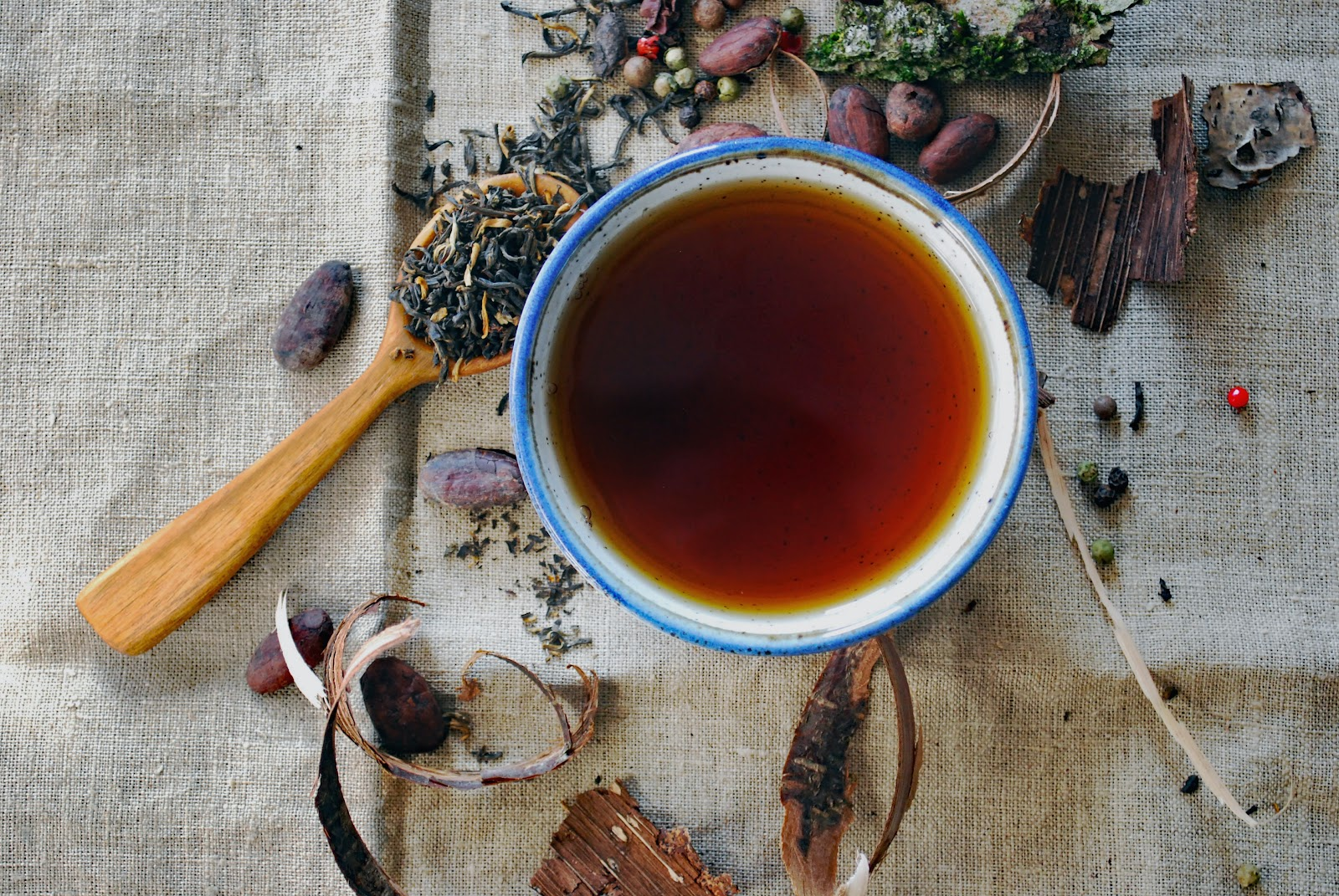 herbal tea, one of the high-vibration foods, in a cup