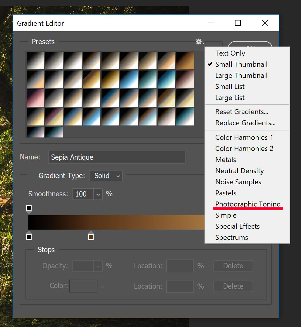 Gradient Editor panel with Photographic Toning option underlined in red