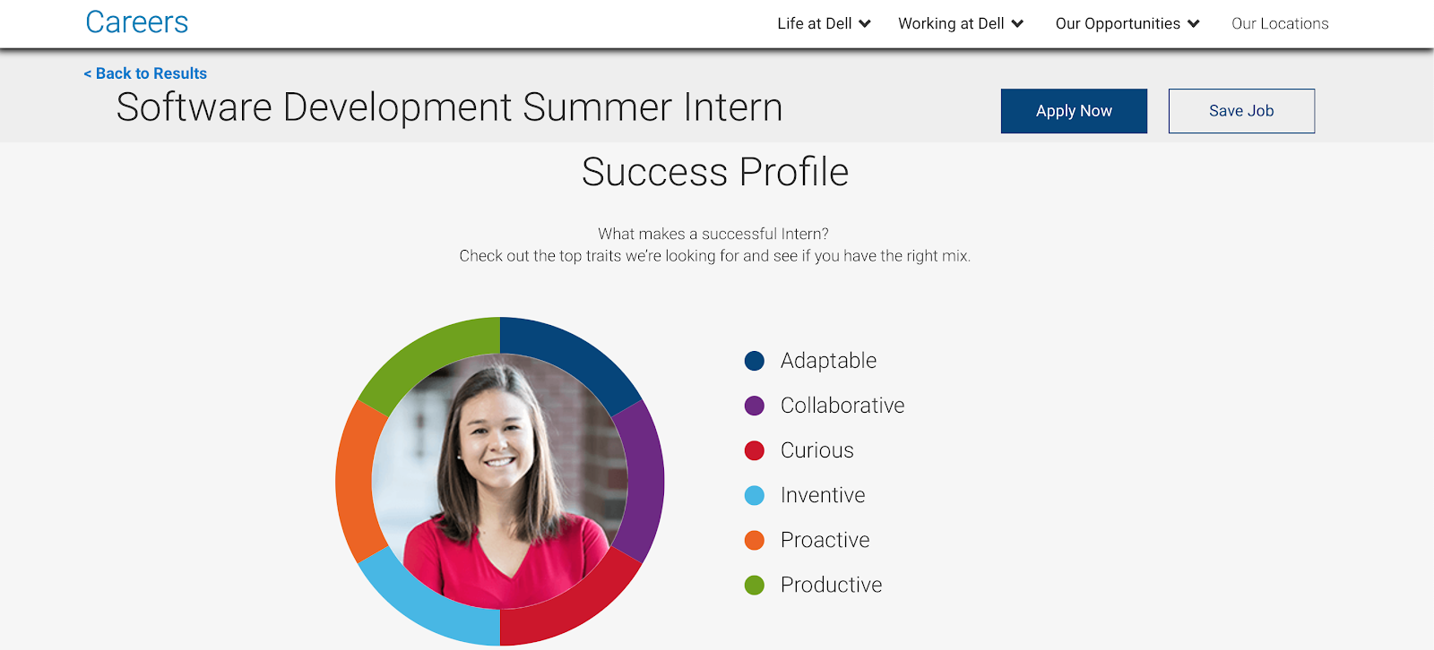 Dell internships: screenshot of a success profile
