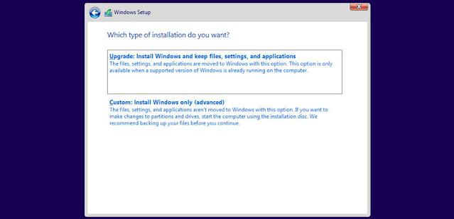 Windows update or a new Windows 10 installation