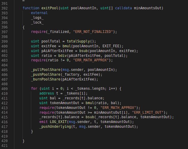 Balancer Codeblock: exitPool function