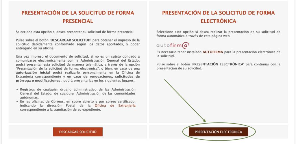 Seleccionar presentación electrónica
