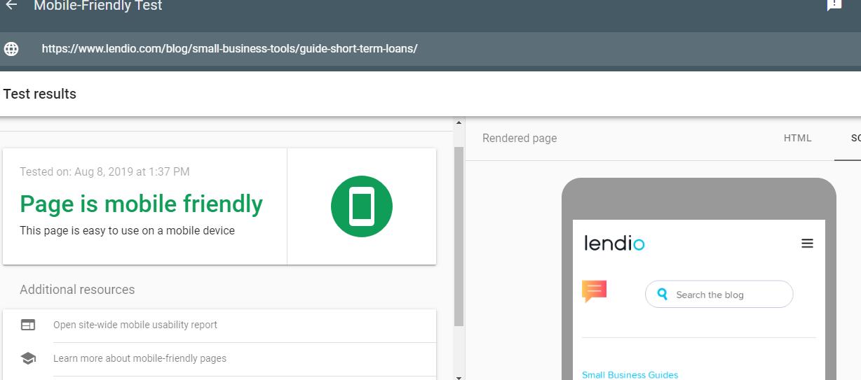 Screenshot of Mobile Friendly Test