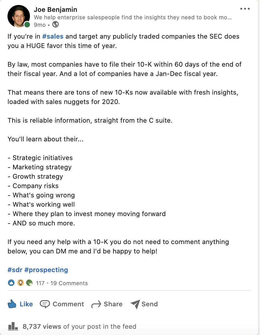 LinkedIn Status Example