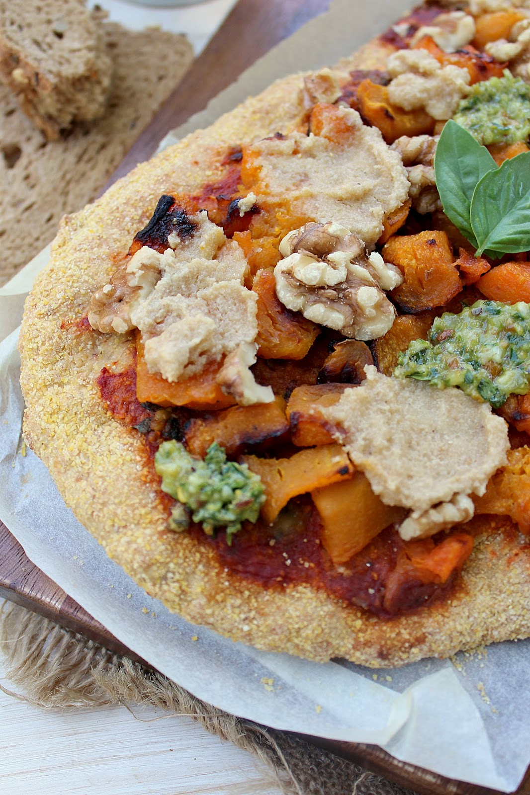 Vegan Butternut Squash, Pesto and Walnut Pizza with Garlic Cashew Cheese