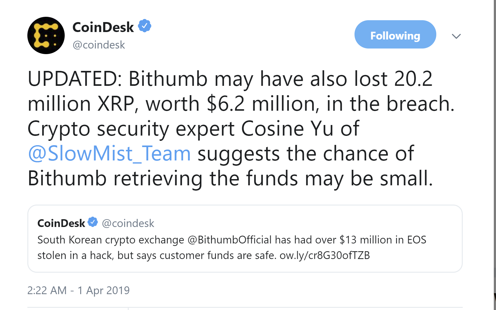 CoinDesk Bithumb Update Tweet on hack