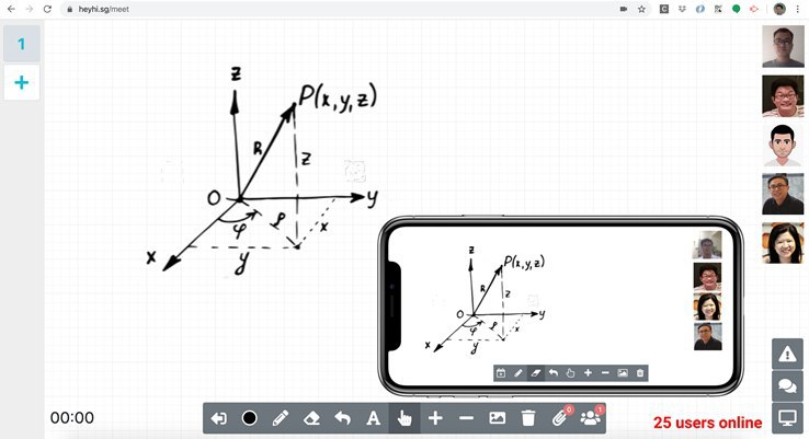 HeyHi's online whiteboard is compatible with android and apple devices