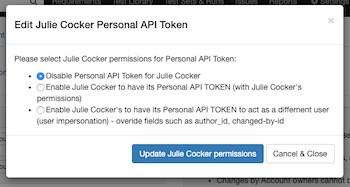 個人用APIトークンポップアップ