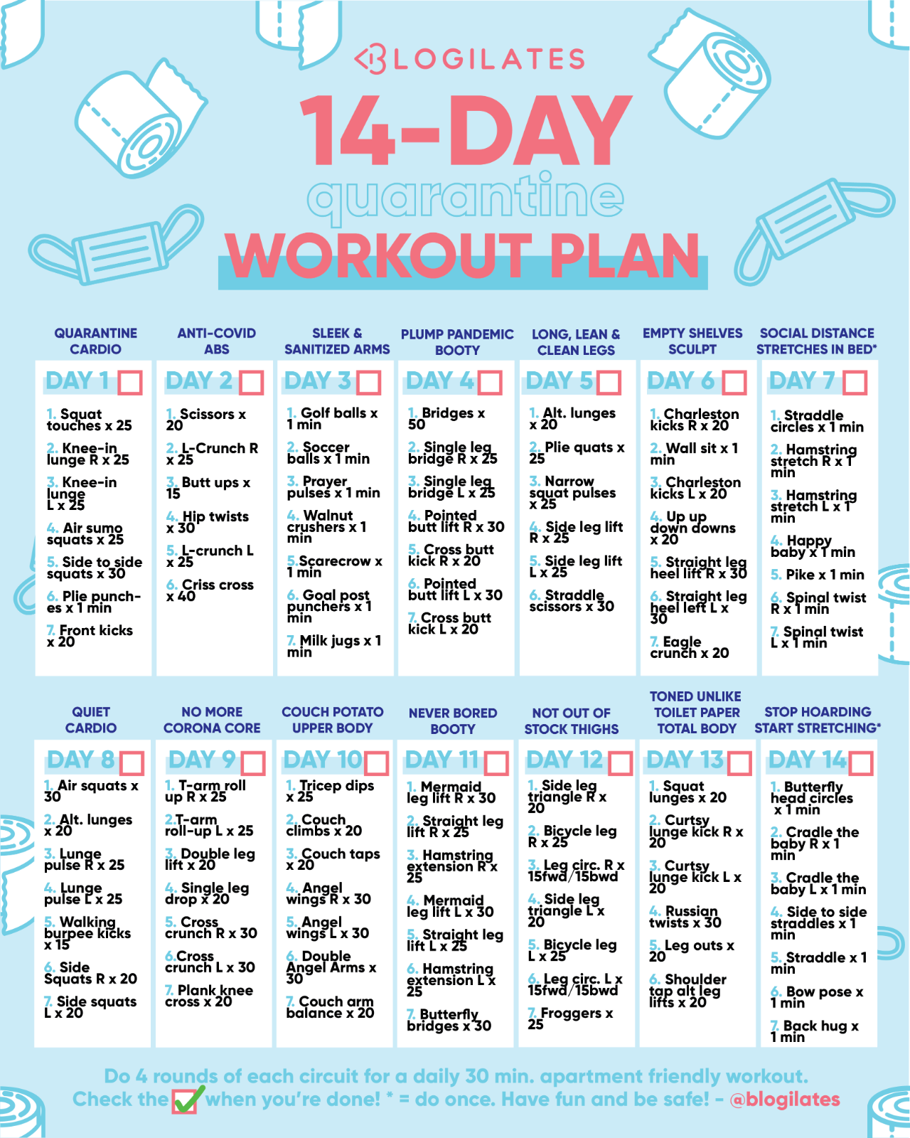 14-day quarantine workout plan