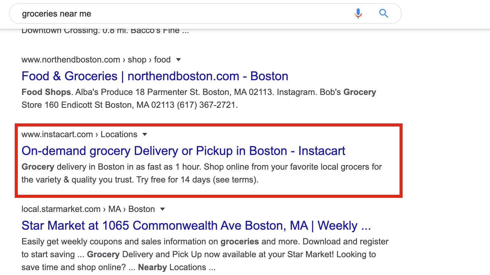 marketing funnels example instacart google ads