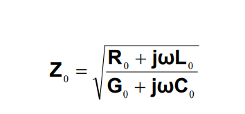Equation 1. Z₀ = sqrt[ (R₀ + jwL₀) / (G₀ + jwC₀)