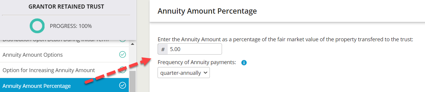 Users can enter the annuity amount expressed as a percentage and select how frequently the payments will be made.