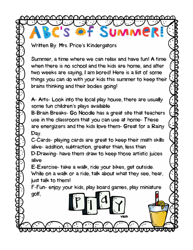 Check Out Kindergarten Letter Of The Week Page. Summer, A Time ...