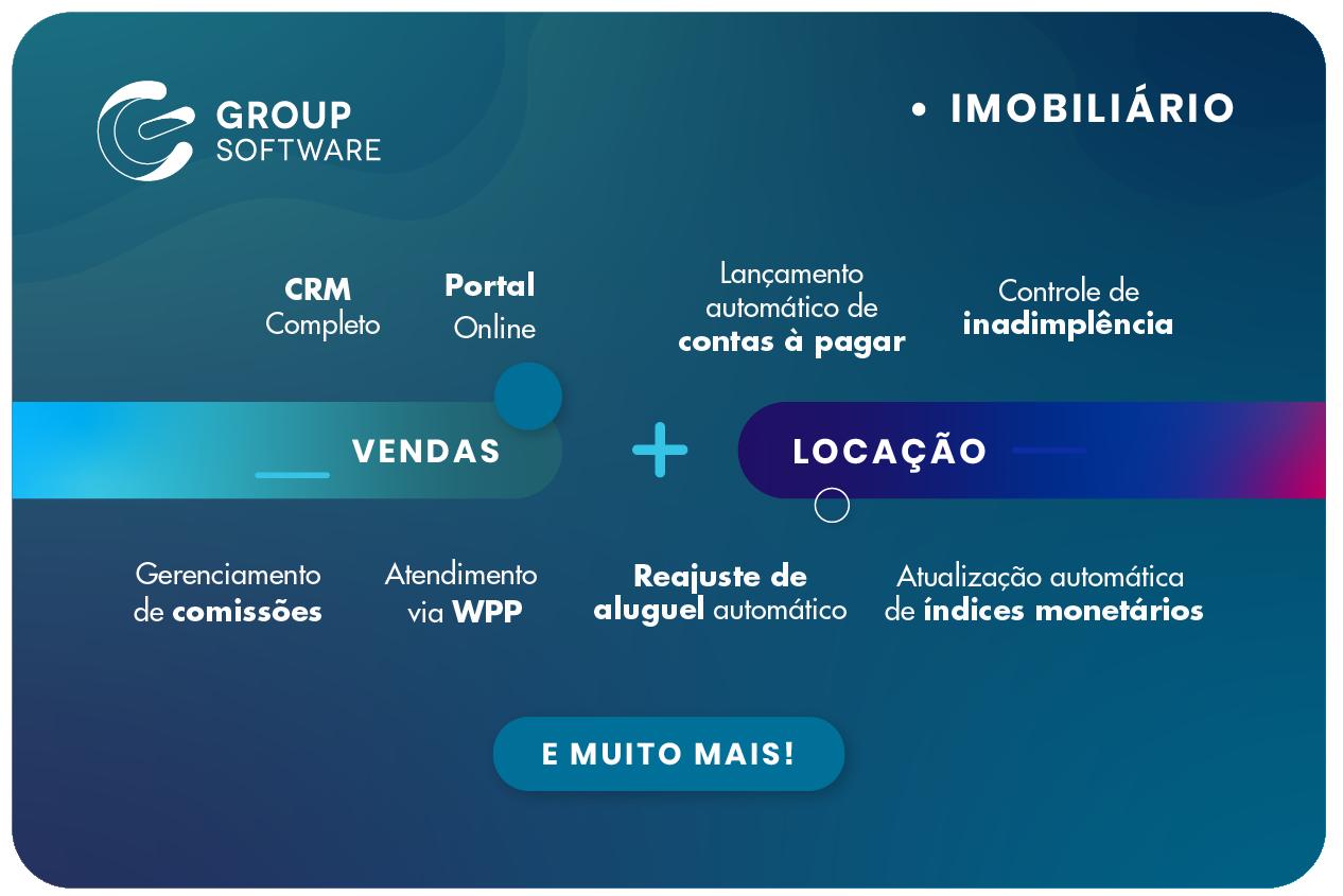 Infográfico de soluções Group Software para locação e vendas em imobiliária digital.