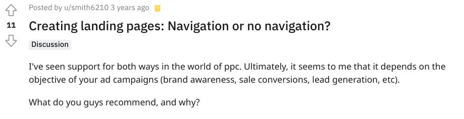 Reddit screenshot asking about PPC navigation
