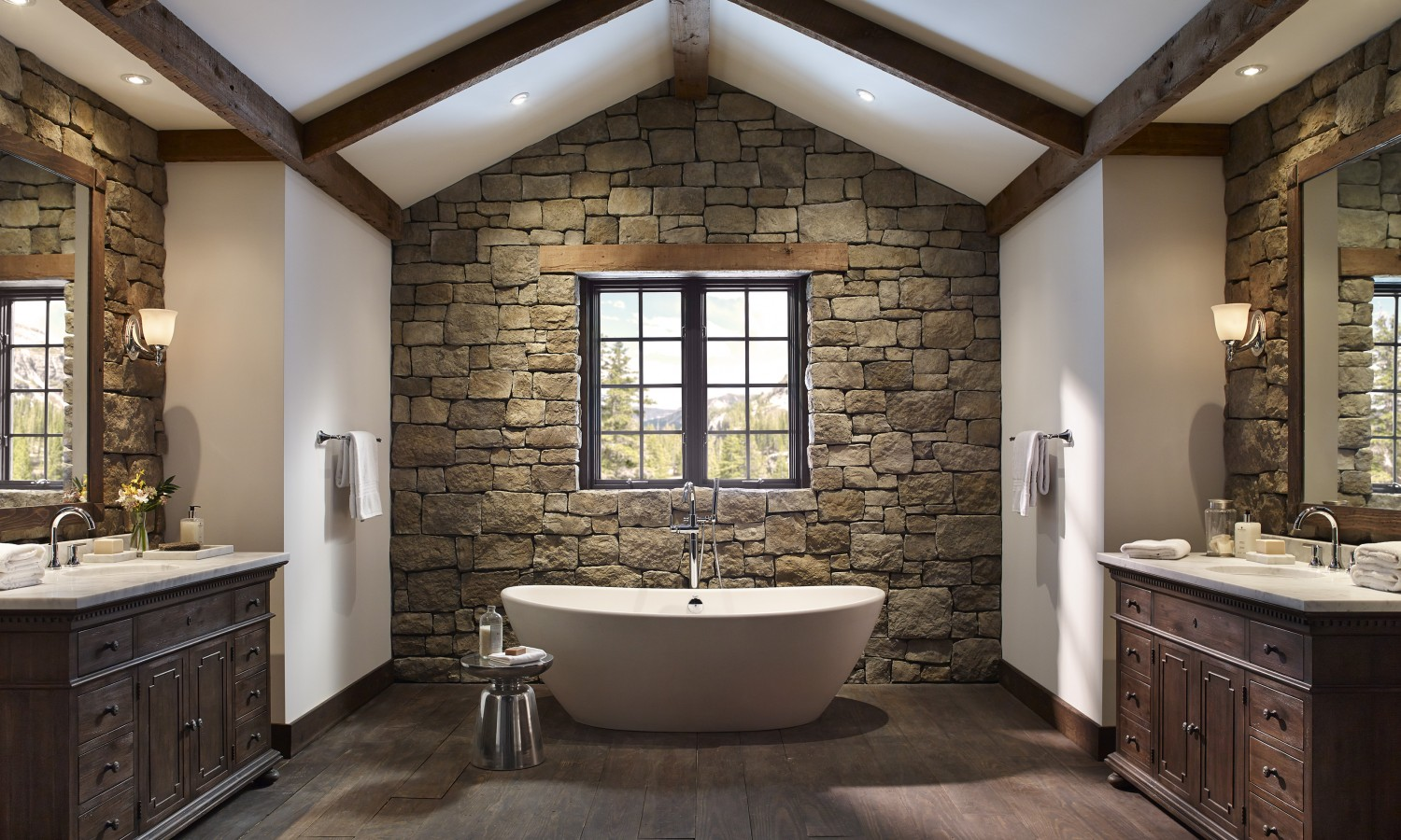 Stone Wall With A Window Among