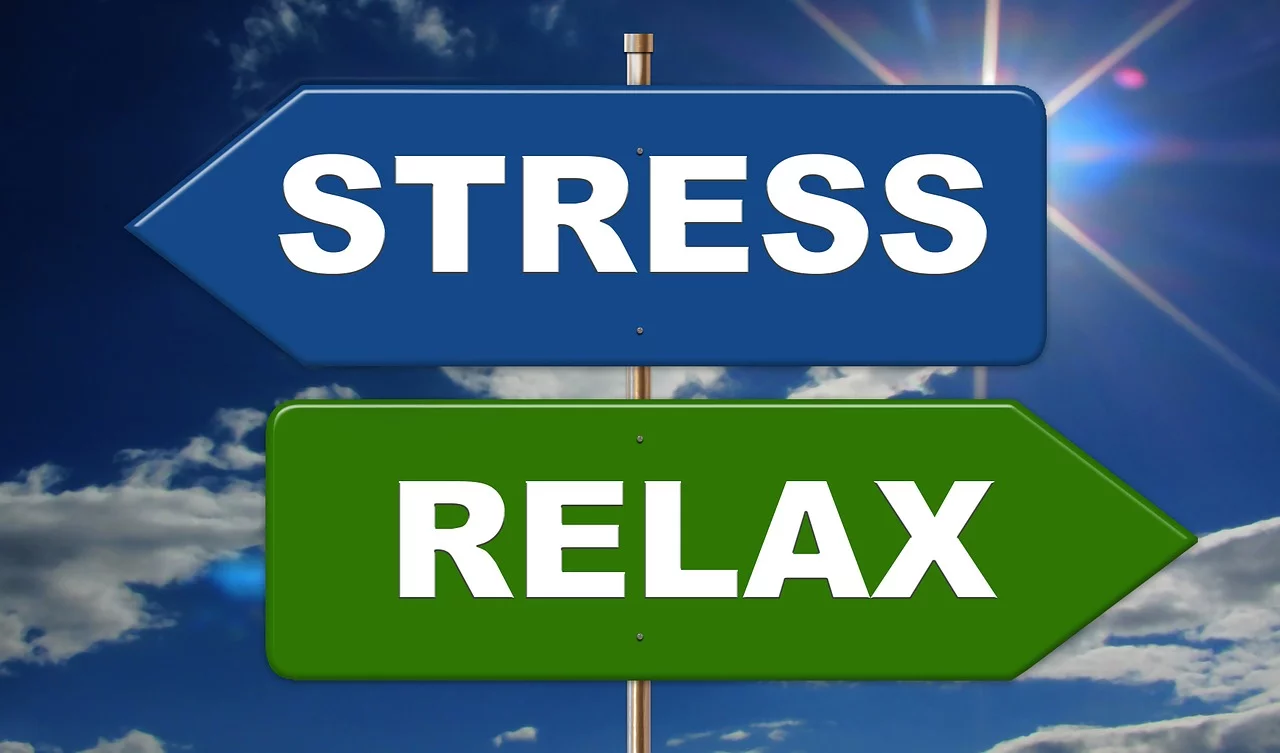 The stress sign is pointed to the left while the relax sign is pointed to the right