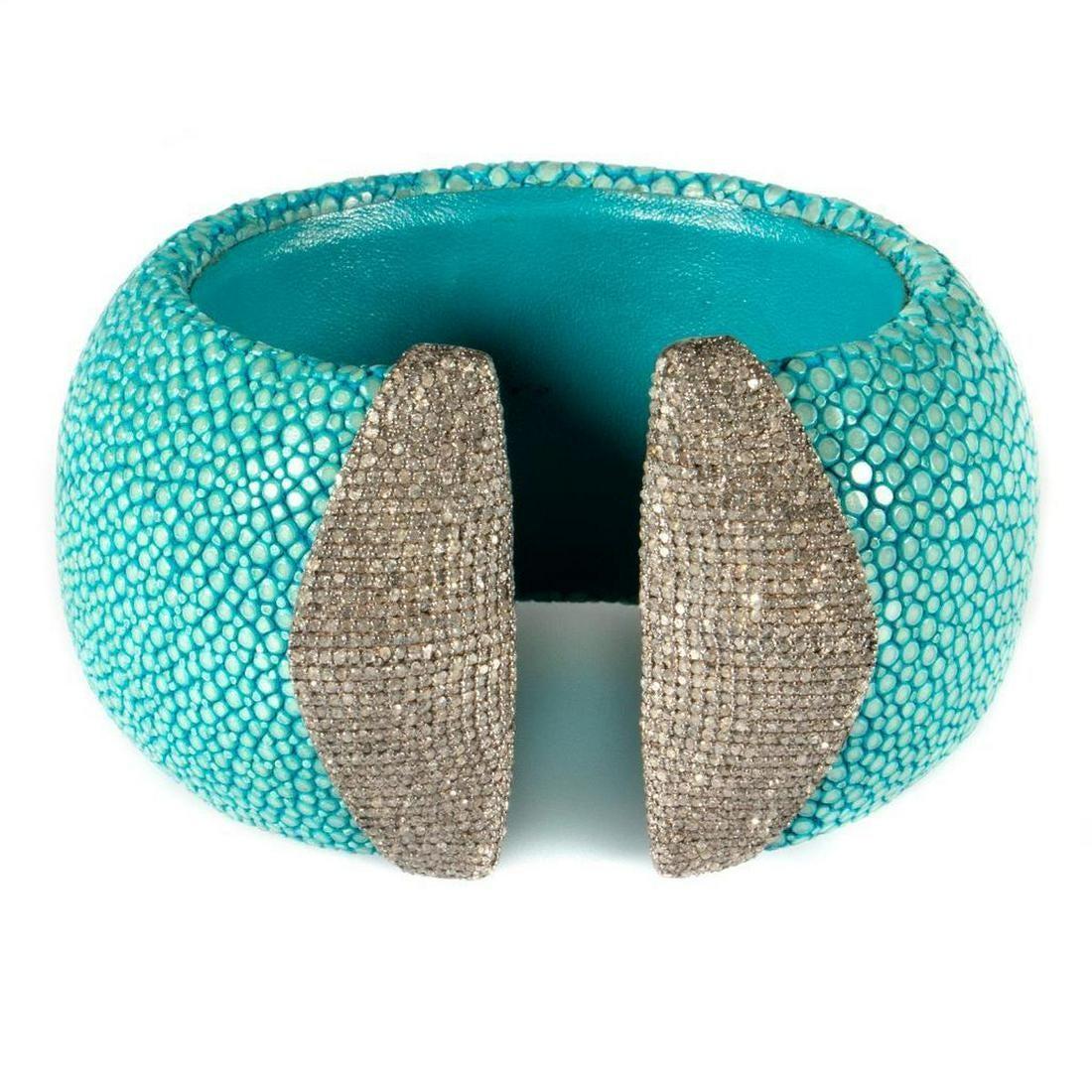 Diamond, stingray and blackened silver cuff bracelet