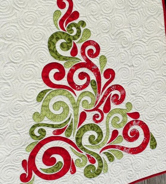 swirly christmas tree quilt craftsy - Quilted Christmas Tree Skirt Pattern