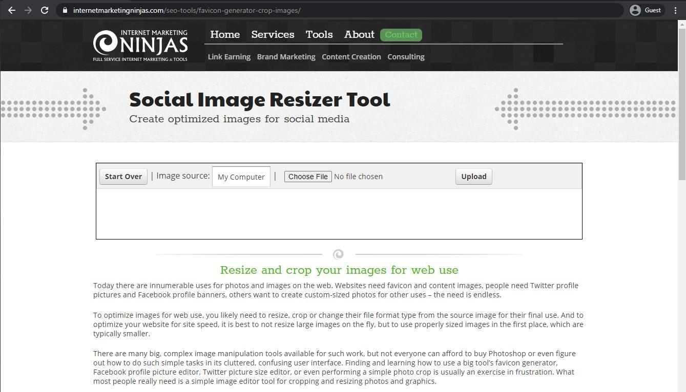 Social image resizer tool landing page