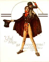 Tiny Tim and Bob Crachit Norman Rockwell