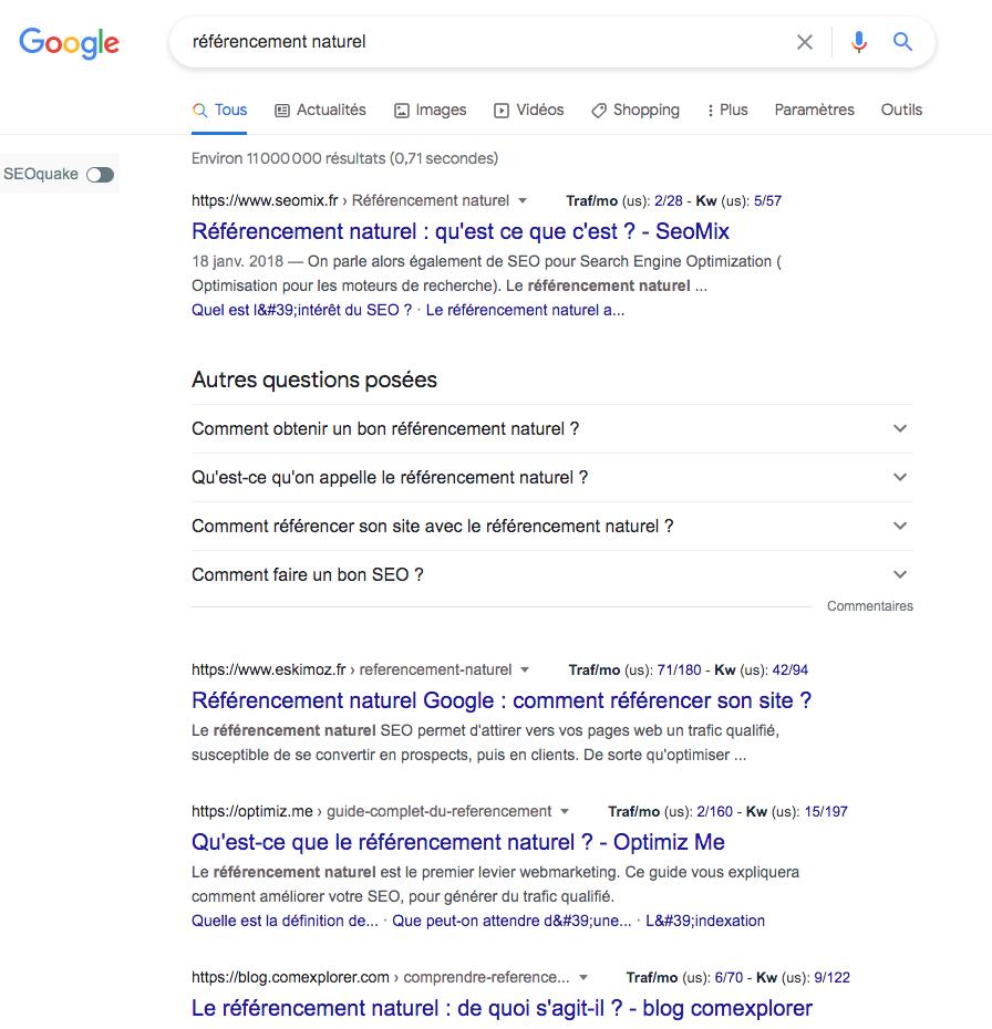 Screenshot résultats de google