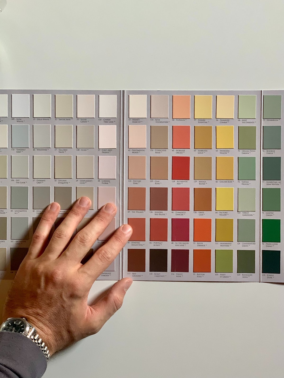 Color pallet held against wall
