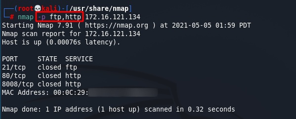 [NMAP Scan Any Port]: Scan FTP and HTTP ports using the port name. Source: nudesystems.com