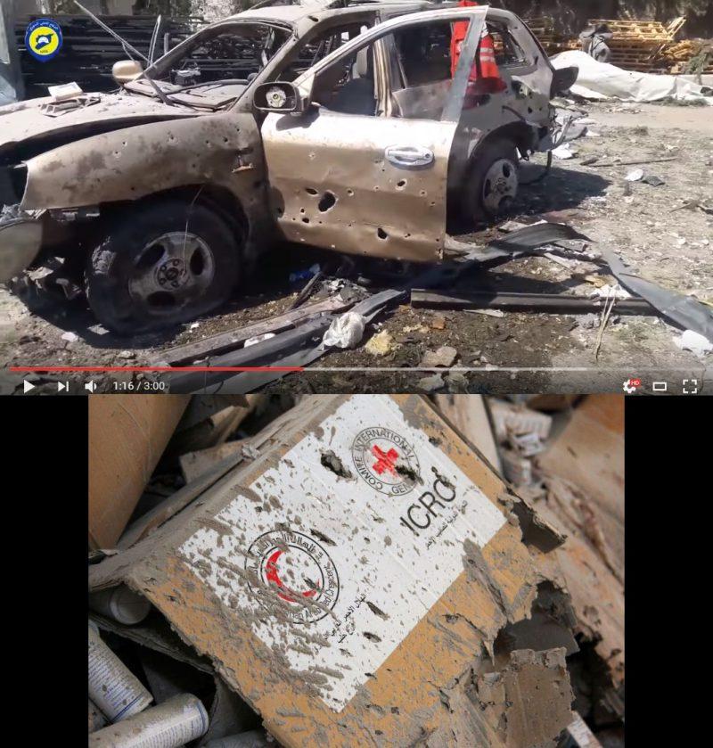 Вверху: кадр видео «Белых касок»; внизу: фото агентства «Рейтер»