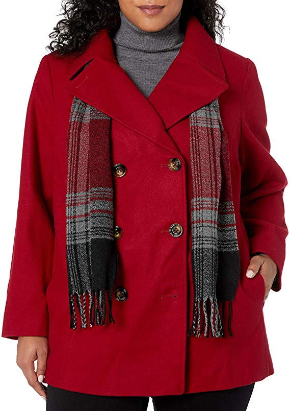 LONDON FOG Women's Plus-Size Double Breasted Peacoat with Scarf, red, 1X