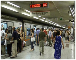 Signs at metro stations indicating waiting time until next trains' arrival