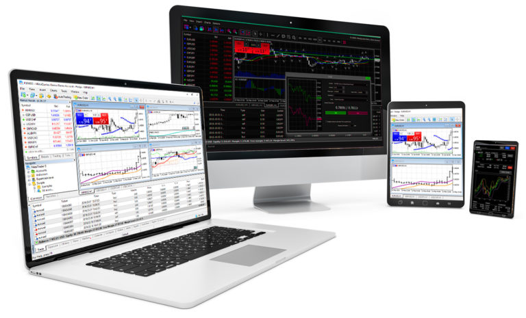 MetaTrader 4 Platform shown on desktop, mobile, laptop, and tablet. From Windsor Brokers