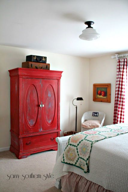 Red Painted Armoire