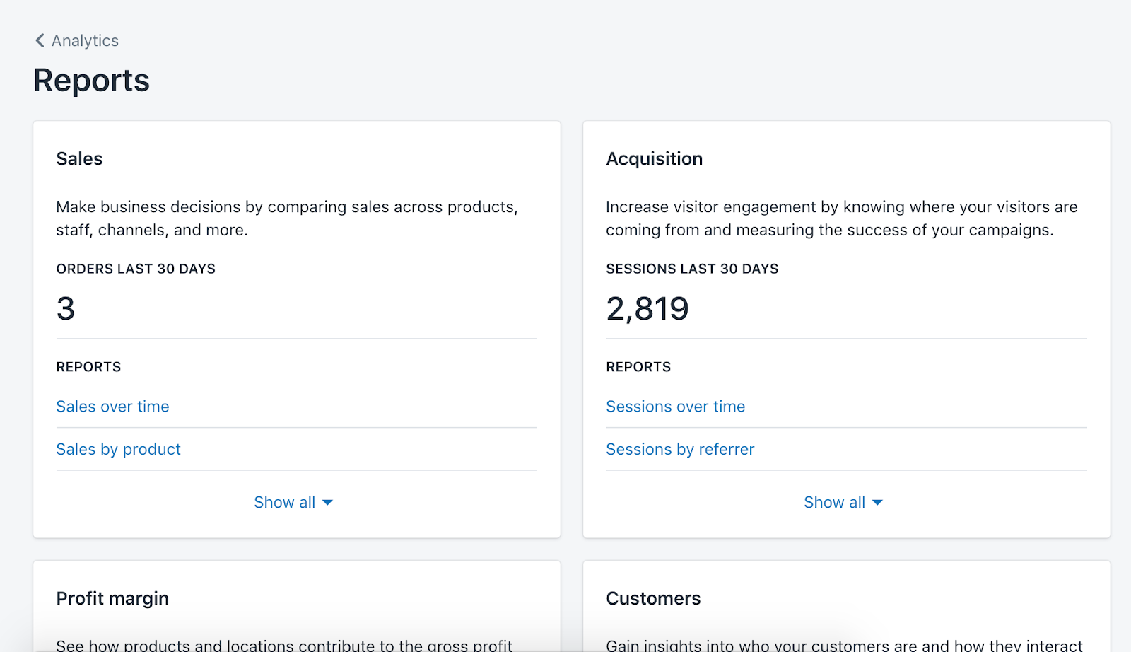 Reports dashboard in Shopify
