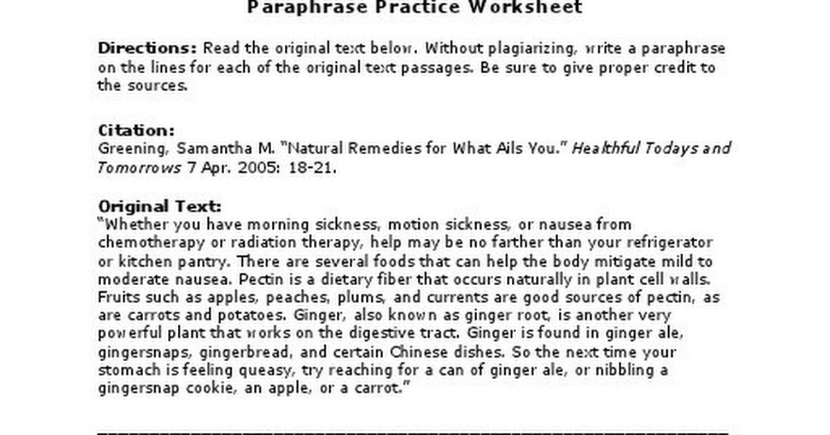 Printables Paraphrase Worksheet paraphrase practice worksheet davezan paraphrasing worksheets davezan