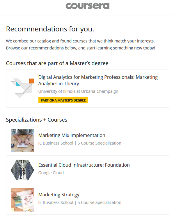 Coursera email - Targeted message - HelpCrunch blog