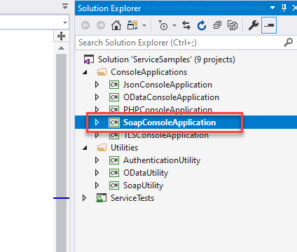 Solution Explorer  Search Solution Explorer (Ctrl+;)  Solution 'ServiceSampIes' (g projects)  ConsoleAppIications  @ JsonConsoIeAppIication  ODataConsoIeAppIication  SoapConsoIeAppIication  onso pp von  Utilities  @ AuthenticationUtiIit,'  ODataUtiIity  @ SoapUtiIit,'  ServiceTests
