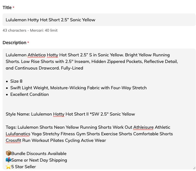 Lululemon listing