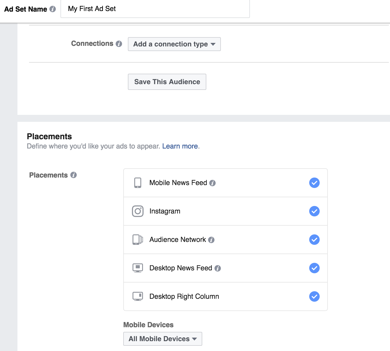 Connection Types and Placements - Facebook Ad Sets