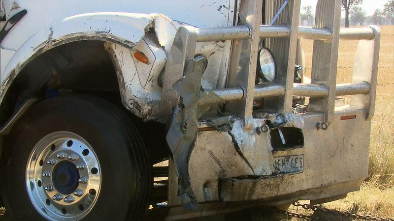 It is believed the truck crossed to the wrong side of the Murray Valley Highway at Brimin, near Rutherglen, moments before the crash.
