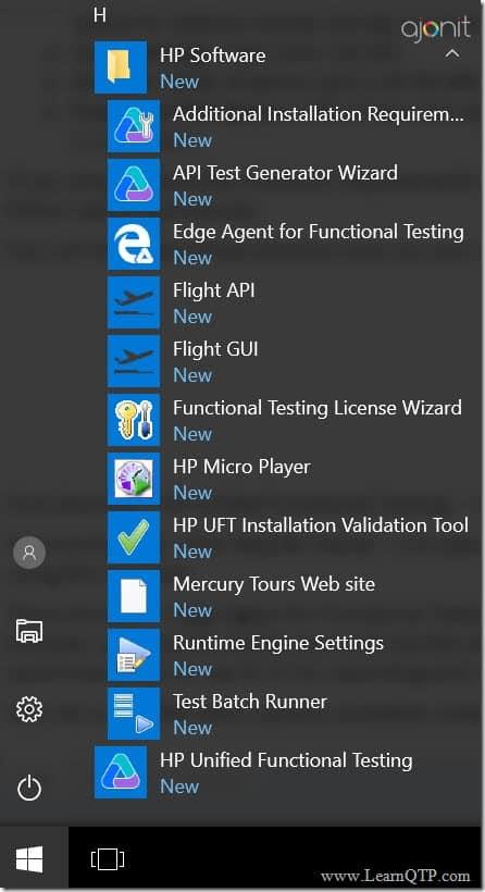 UFT Start menu Options